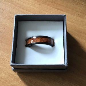 Oliveti black tungsten carbide ring wedding ring